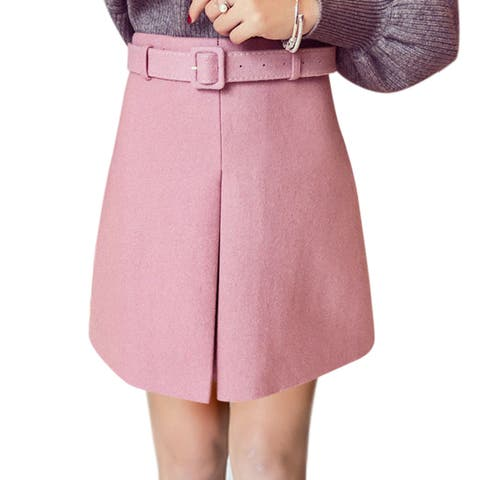 Women High Rise Layered Front Mini Worsted A Line Skirt w Belt - Pink - L