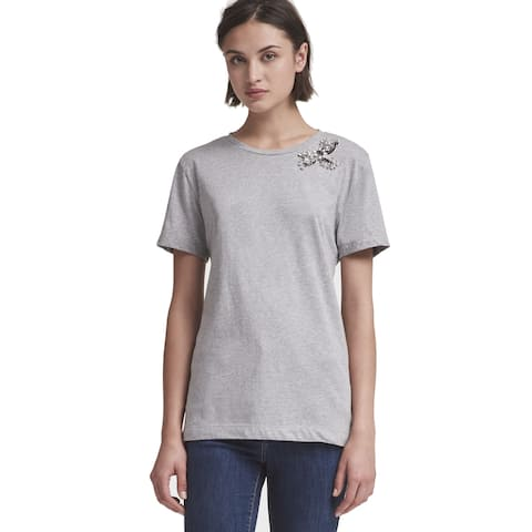 DKNY Women's Cotton Rhinestone-Embellished T-Shirt (L)