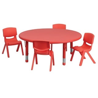 Offex 45'' Round Adjustable Red Plastic Activity Table Set with 4 School Stack Chairs