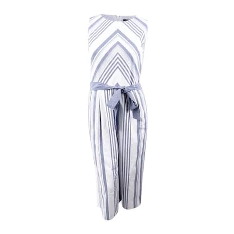 Jessica Howard Women's Cotton Striped Jumpsuit - Ivory/Navy - 16