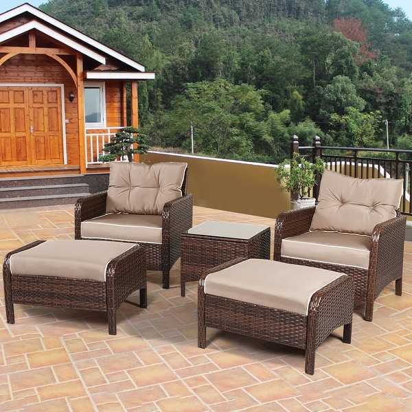 Costway 5 PCS Rattan Wicker Furniture Set Sofa Ottoman W Brown
