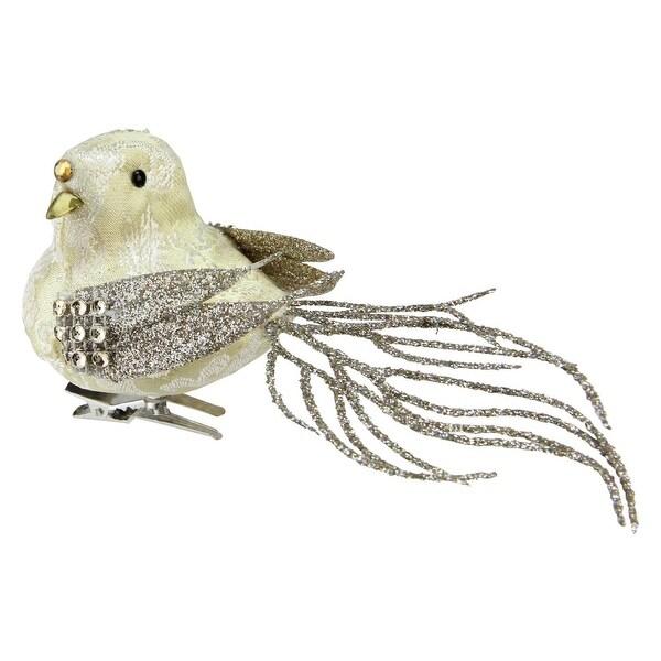 """6.5"""" Sequence and Glitter Decorative French Vanilla Bird Clip Ornament - GOLD"""