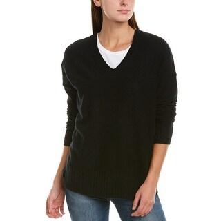 White + Warren Ribbed Cashmere V-Neck Sweater