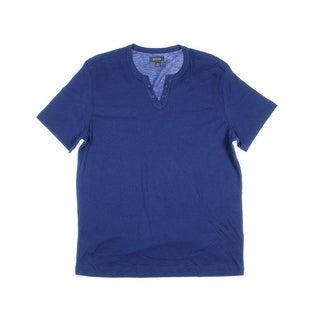 Kenneth Cole Reaction Mens Split V-Neck Short Sleeves Casual Shirt - M