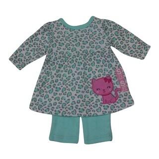 Bon BeBe Baby Girls Sage Pink Leopard Print Cat Applique Pants Outfit