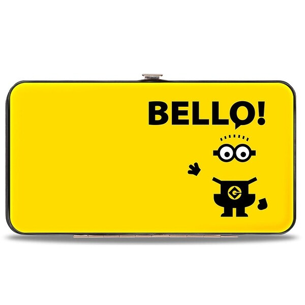 Minion Waving Bello! + Poopaye! Yellow Black Hinged Wallet - One Size Fits most