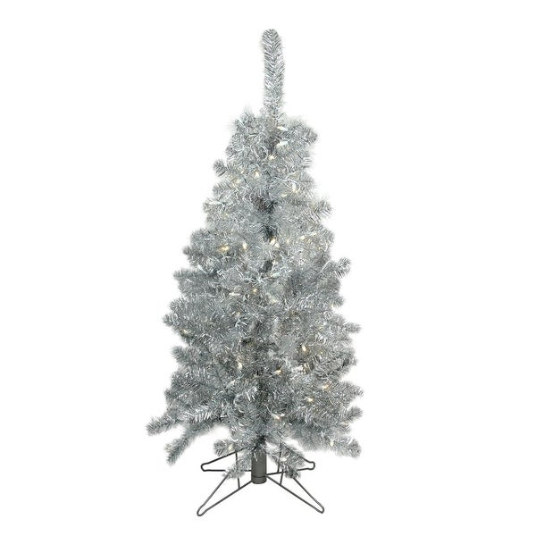 4' Pre-Lit Medium Silver Tinsel Artificial Christmas Tree - Clear Lights