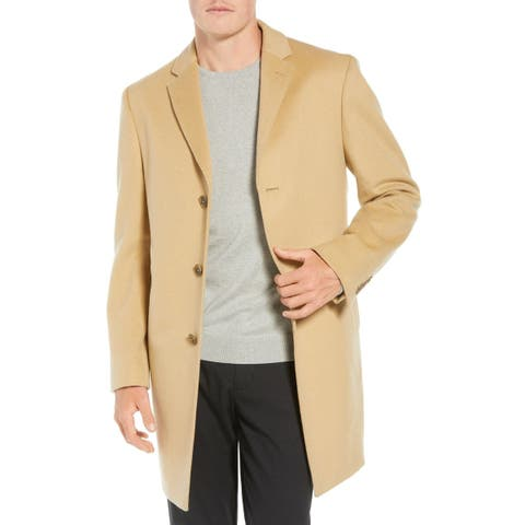 JWN Sand Beige Mens Size 50R Three-Button Wool Blend Trench Coat