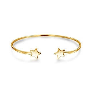 06252dbad208 Shop Patriotic Lucky Stars Rock Star Bangle Cuff Bracelet Women Teens High  Polish 14K Gold Plated 925 Sterling Silver - On Sale - Free Shipping On  Orders ...