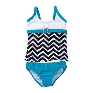 Azul Girls Blue White Chevron Jagged Edge 2 Pc Tankini Swimsuit