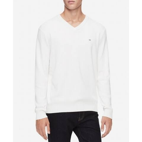 Calvin Klein Men Sweater Standard White Size XL V-Neck Ribbed Pullover