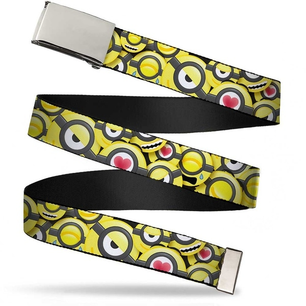 "Blank Chrome 1.0"" Buckle Minion Emojis Stacked Webbing Web Belt 1.0"" Wide - S"