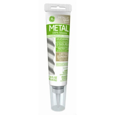 GE GE285 Silicone II Metal Glue & Sealant, Gray, 2.8 Oz