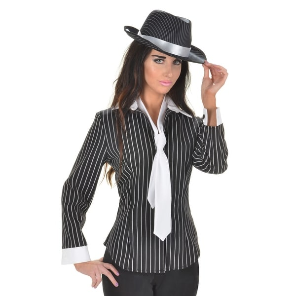 6da69587 Shop Underwraps Gangster Fitted Shirt Adult Costume - Black/White - Free  Shipping On Orders Over $45 - Overstock - 16798712