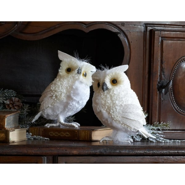 Set of 2 Snowy Winter White Owl Christmas Table Top Decorations 7.5""