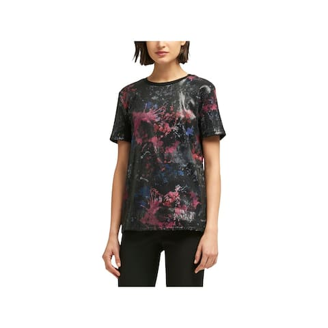 DKNY Womens Blouse Sequined Printed