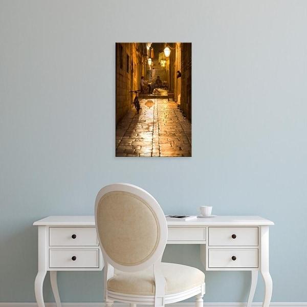 Easy Art Prints John & Lisa Merrill's 'Narrow Cobblestone Street With Old Stone Houses And Street Lamps' Canvas Art