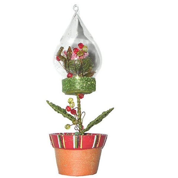 Glitter Flower Pot Birds Nest Glass Christmas Ornament