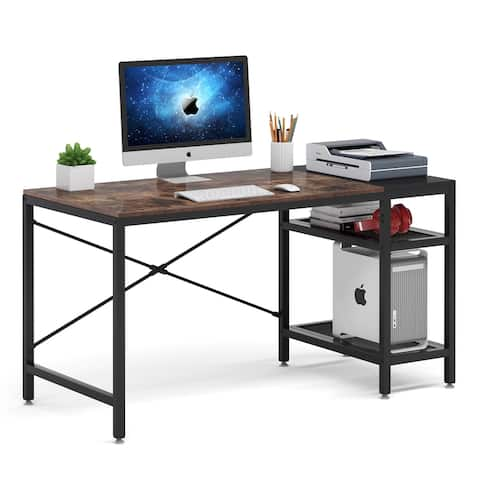 Computer Desk with Storage Shelves, 51 Inch Writing Study Desk for Home Office