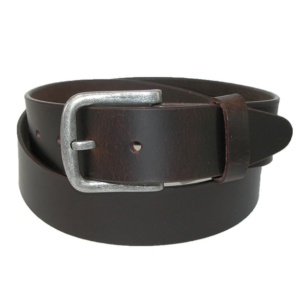 New CTM Men/'s Leather 1 3//8 Inch Removable Buckle Bridle Belt