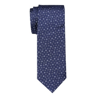 Yves Saint Laurent Dotted Silk Tie Navy Blue / Gray Necktie Made In France