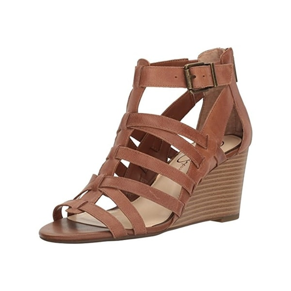 Jessica Simpson Womens Cloe Wedge Sandals Caged Buckle