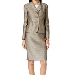 Le Suit NEW Gold Titanium Women's Size 4 Jacquard Skirt Suit Set