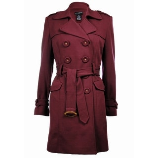 Sutton Studio Women's Ponte Trench - Burgundy