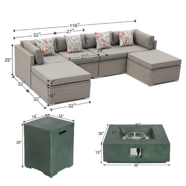 COSIEST 8-Piece Outdoor Furniture Sofa with Green Fire Pit Set
