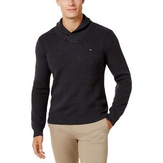 Tommy Hilfiger Mens Stockton Shawl-Collar Sweater Winter Waffle Knit