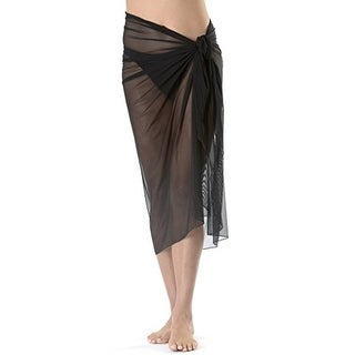 Long Black Mesh Swimsuit Sarong Cover up with Built in Ties