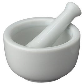 HIC 1140 Porcelain Mortar and Pestle, White