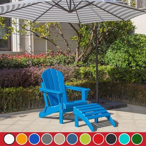 Laguna Folding Adirondack Chair with Ottoman Set