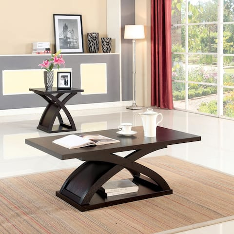 Furniture of America Hali Contemporary Brown 2-piece Accent Table Set