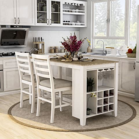 Furniture of America Biaz Transitional White 3 Piece Kitchen Island Set