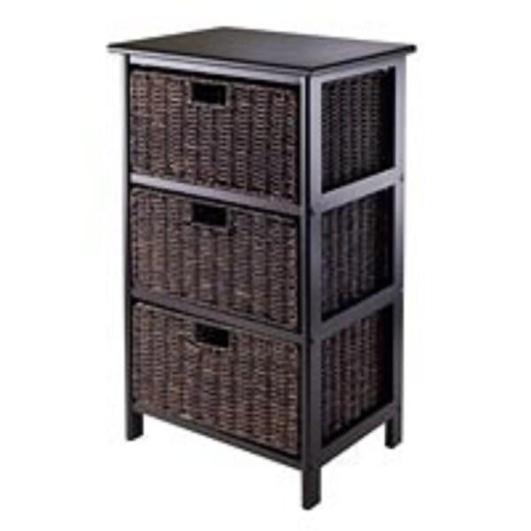 "28.50"" Black Storage Rack with Three Foldable Baskets - N/A"