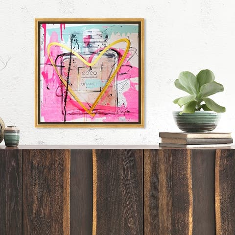 Oliver Gal 'Mademoiselle Remix' Fashion and Glam Wall Art Framed Canvas Print Perfumes - Pink, Yellow
