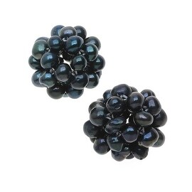 Freshwater Cultured Seed Pearls, Woven Round Ball 3-4mm 2 Pieces, Peacock Blue