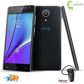 "Indigi Unlocked AT&T 5.0"" Curved 4G LTE Android 6.0 2Sim Smartphone + Bluetooth bundle - Black"