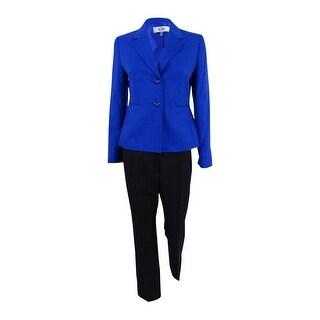 Le Suit Women's Petite Melange Two-Button Pants Suit 2P, Bali Blue - bali blue - 2p
