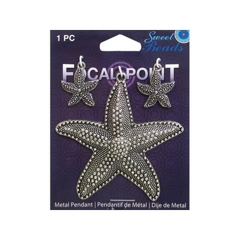 Sweet Beads Focal Pt Pendant Mtl Starfish Slv 3pc