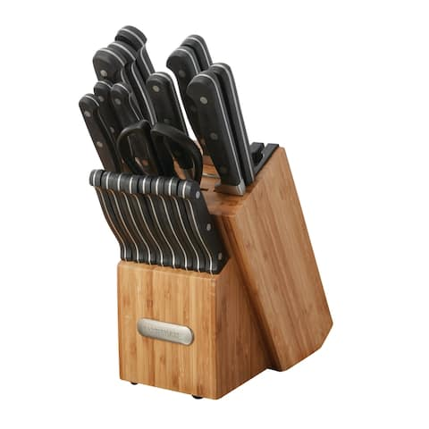 Farberware 21 Piece Forged Triple Rivet Knife Set with Built-in Edgekeeper Knife Sharpener and Bamboo Block
