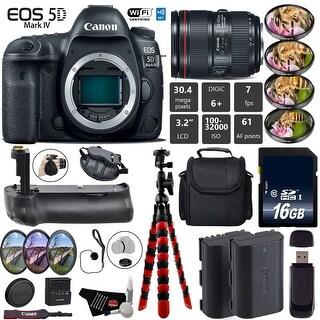 Canon EOS 5D Mark IV DSLR Camera with 24-105mm f/4L II Lens + Case + Wrist Strap + Tripod - Intl Model