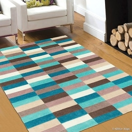 "AllStar Rugs Blue Mix Hand Made Modern Transitional Design Area Rug with Dimensional Hand-Carving Highlights (7' x 10' 2"")"