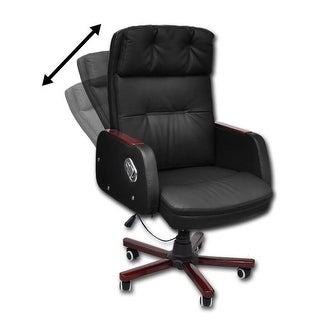 vidaXL Black Adjustable Artificial Leather Office Chair Recliner