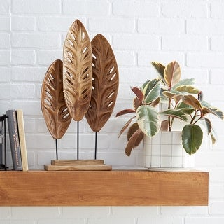 Link to Brown Teak Wood Natural Leaves Sculpture, 23 x 12 x 5 - 12 x 5 x 23 Similar Items in Decorative Accessories