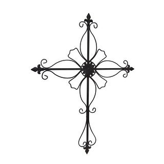 Link to Floral Fleur De Lis Distressed Finish Wall Mounted Cross Similar Items in Gardening