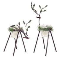 "Set of 4 Deer Shaped Decorative Tea Light Holder with Pine Wreath 12"" - Brown"