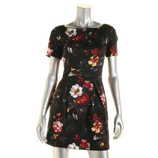 French Connection Womens Floral Print Bateau Neck Casual Dress