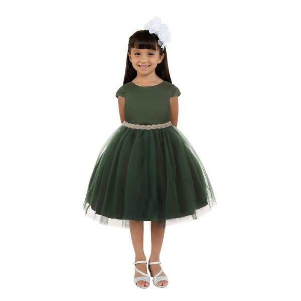 Kids Dream Little Girls Hunter Green Satin Tulle Rhinestone Christmas Dress. Opens flyout.